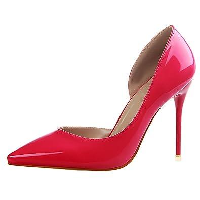 OALEEN Escarpins Sexy Bout Pointu Côté Ouvert Chaussures Talon Haut  Aiguille Office Soirée Femme Rose Fushia 884a2b4219c5