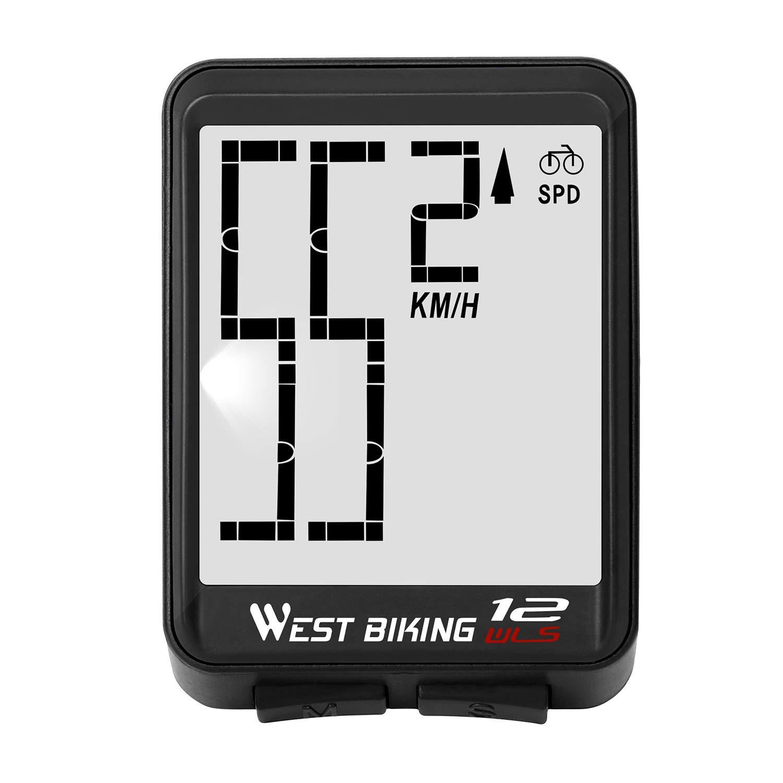 WESTGIRL 自転車 コンピューター ワイヤレス サイクリング スピードメーター オドメーター 大桁 自動速度表示 変更 防水 ELバックライト 自転車 コンピューター  ブラック B07P2D46XP