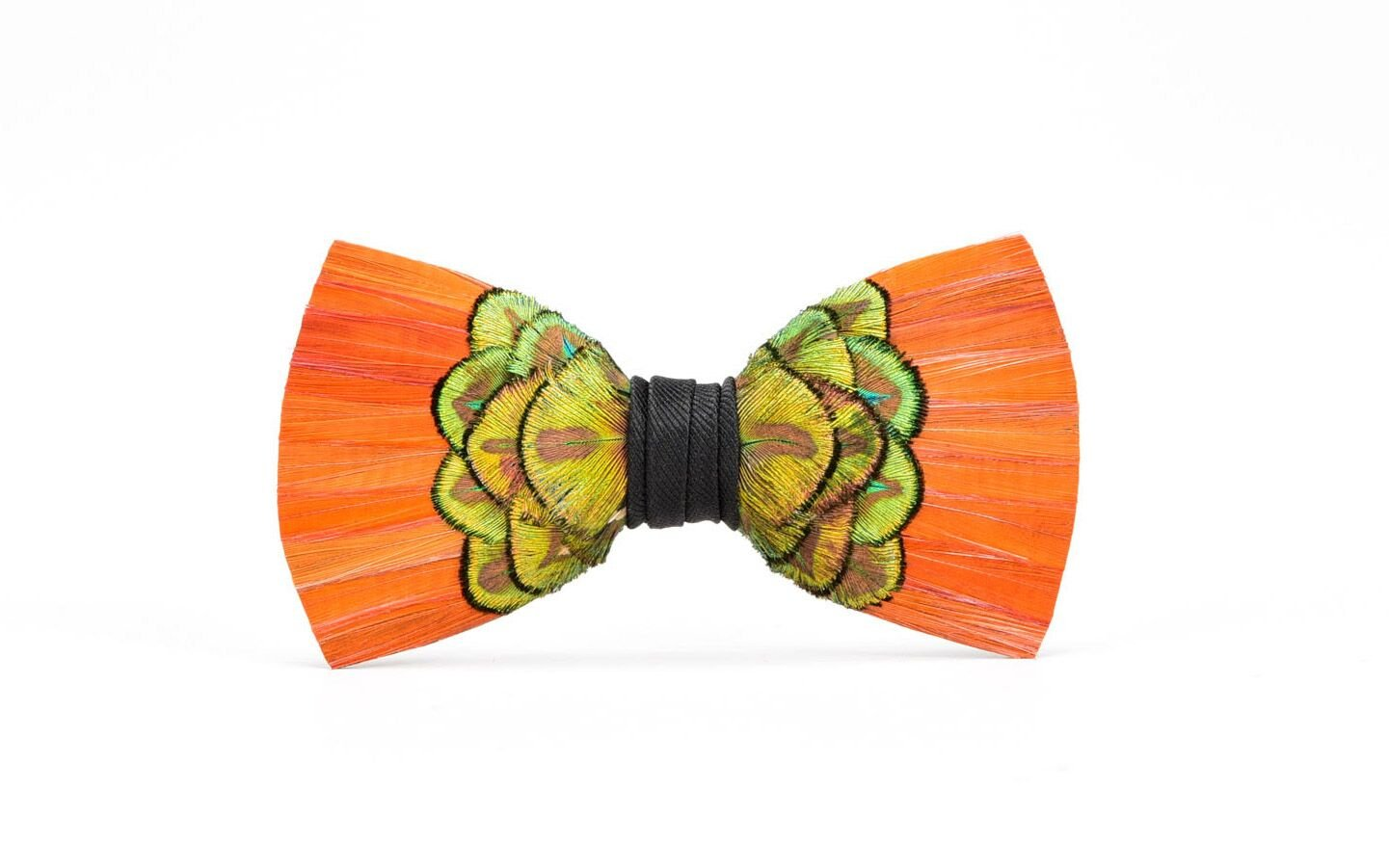 Brackish Cameron Pheasant and Peacock Feather Mens Bow Tie (BRK-193)