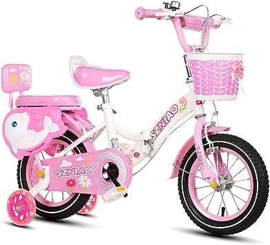 MLSH Bicicleta para niñas con cestas y Ruedas de Entrenamiento ...