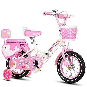 MLSH Bicicleta para niñas con cestas y Ruedas de Entrenamiento para ...