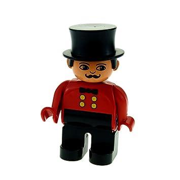 LEGO Bausteine & Bauzubehör LEGO Bau- & Konstruktionsspielzeug 1 x Lego Duplo Figur Mann schwarz rot Zirkus Direktor Zylinder schwarz 4555pb036