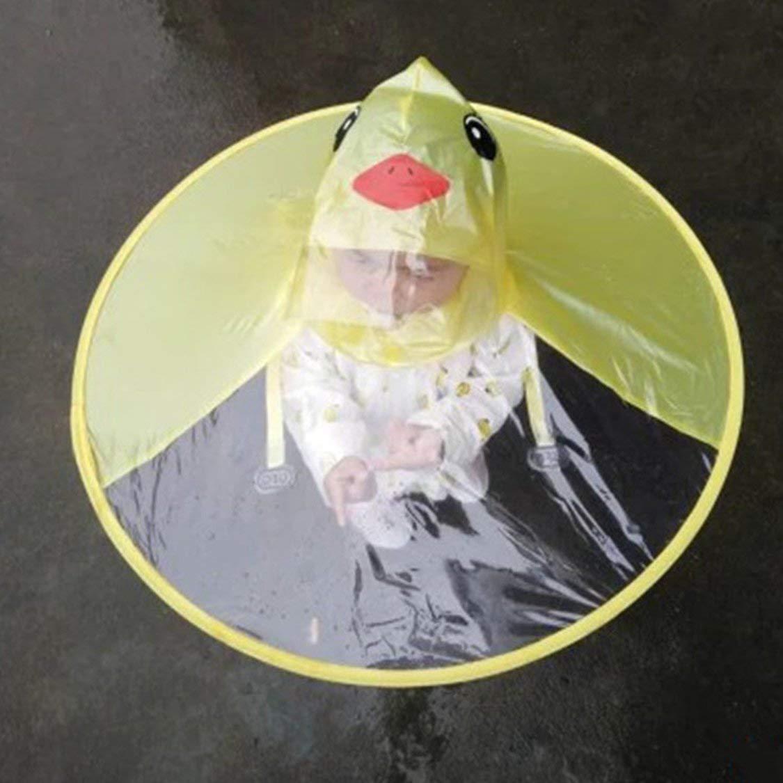 Jaune Bande dessin/ée cr/éative Canard Chapeau de Pluie Pliable Enfants Manteau de Pluie Parapluie Cape Manteau de Pluie Mignon Manteau Universel pour gar/çons Filles