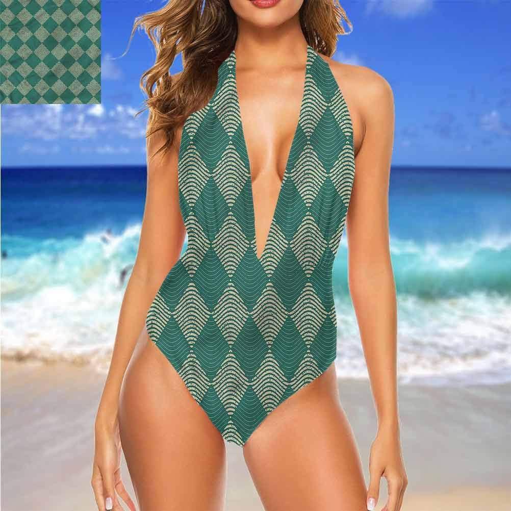 Bikini taille haute géométrique, carrés colorés, uniques et confortables Multi 23.