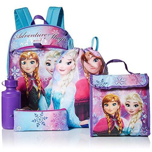 Disney Girls' Frozen 5 Pc Set Backpack, Purple