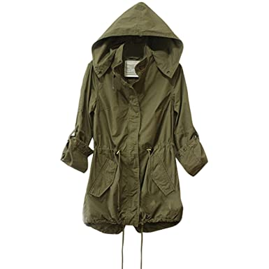Hooded military parka jacket
