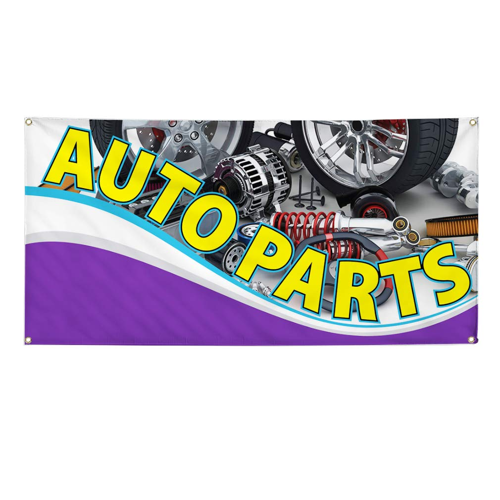 One Banner Multiple Sizes Available 8 Grommets 44inx110in Vinyl Banner Sign Auto Parts #1 Automotive Auto Parts Marketing Advertising Yellow