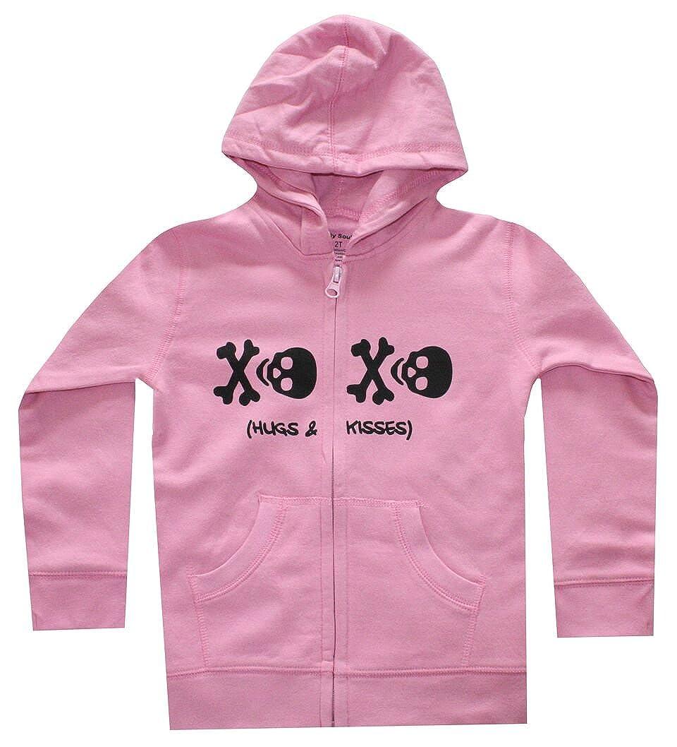 Silly Souls Skull XO Girls Cute Hooded Sweatshirt Pink and Black fw16_skXOPss2T