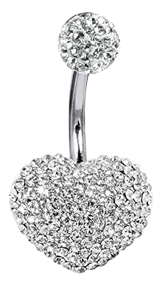 sale online low priced best wholesaler Shalalla London Swarovski Crystal Hearts 3D Belly Button Ring - Belly  Button Ring - Body bar - Hand Made with Love & Care