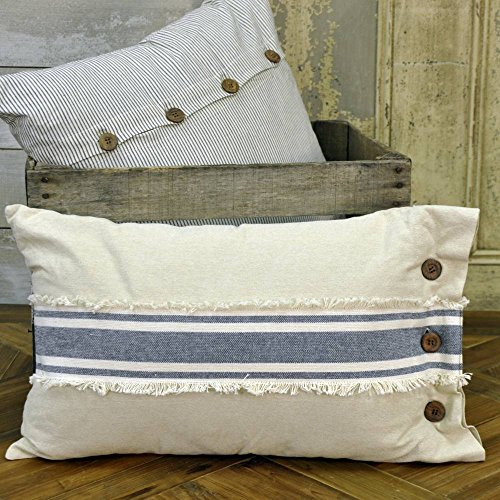 Chambray Grain Sack Stripe Pillow Cover, 12 x 20, Farmhouse Style