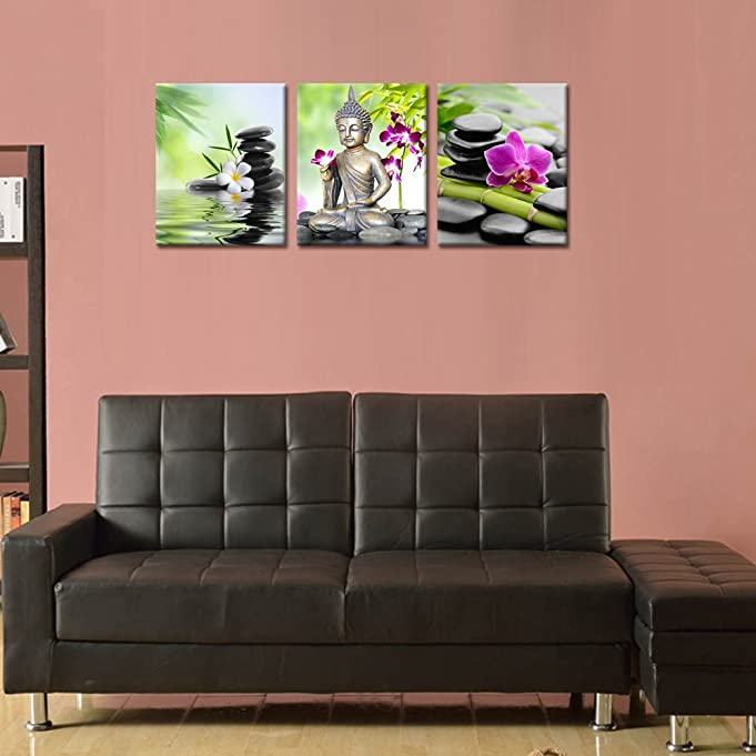 Amazon.com: Buddha Canvas Wall Art, Spa Zen Stone Canvas Print ...