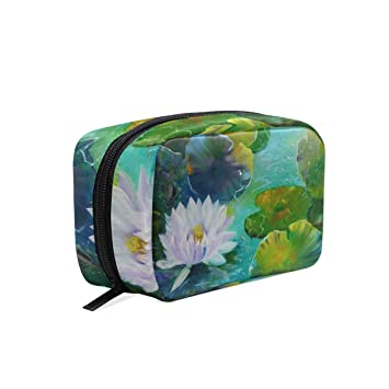 Travel Toiletry Makeup Bag Water Lily Lotus Flower Pads Painting Oil Cosmetic  Bags Women s Portable Brushes 8be17c08be
