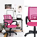HOMY CASA Homycasa Office Chair Mesh Swivel Office Computer Desk Chair with Arms with Fabric Pads (Pink)