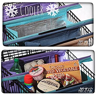 Lotus Trolley Bags -w/ LRG COOLER Bag & Egg/Wine holder! Reusable Grocery Cart Bags sized for USA- fits all grocery stores. Eco-friendly 4-Bag Grocery Tote.100% Qlty GUARANTEE