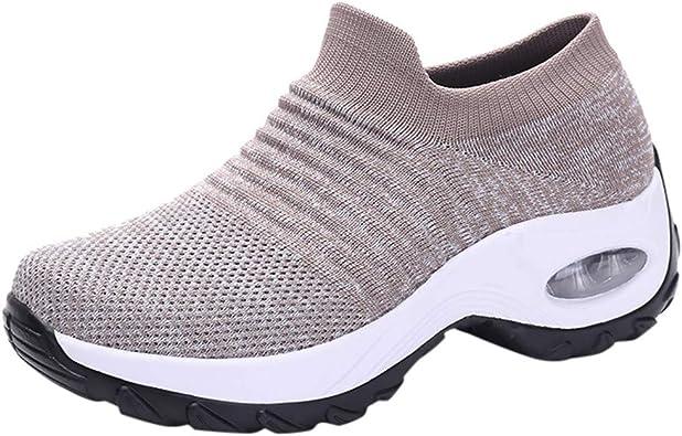 YGbuy Zapatillas Deportivas de Mujer Air Cordones Zapatillas de Running Fitness Sneakers Calzado Resistente al Desgaste Calzado Deportivo Calcetín Zapatillas sin Cordones Zapatos Holgados: Amazon.es: Zapatos y complementos