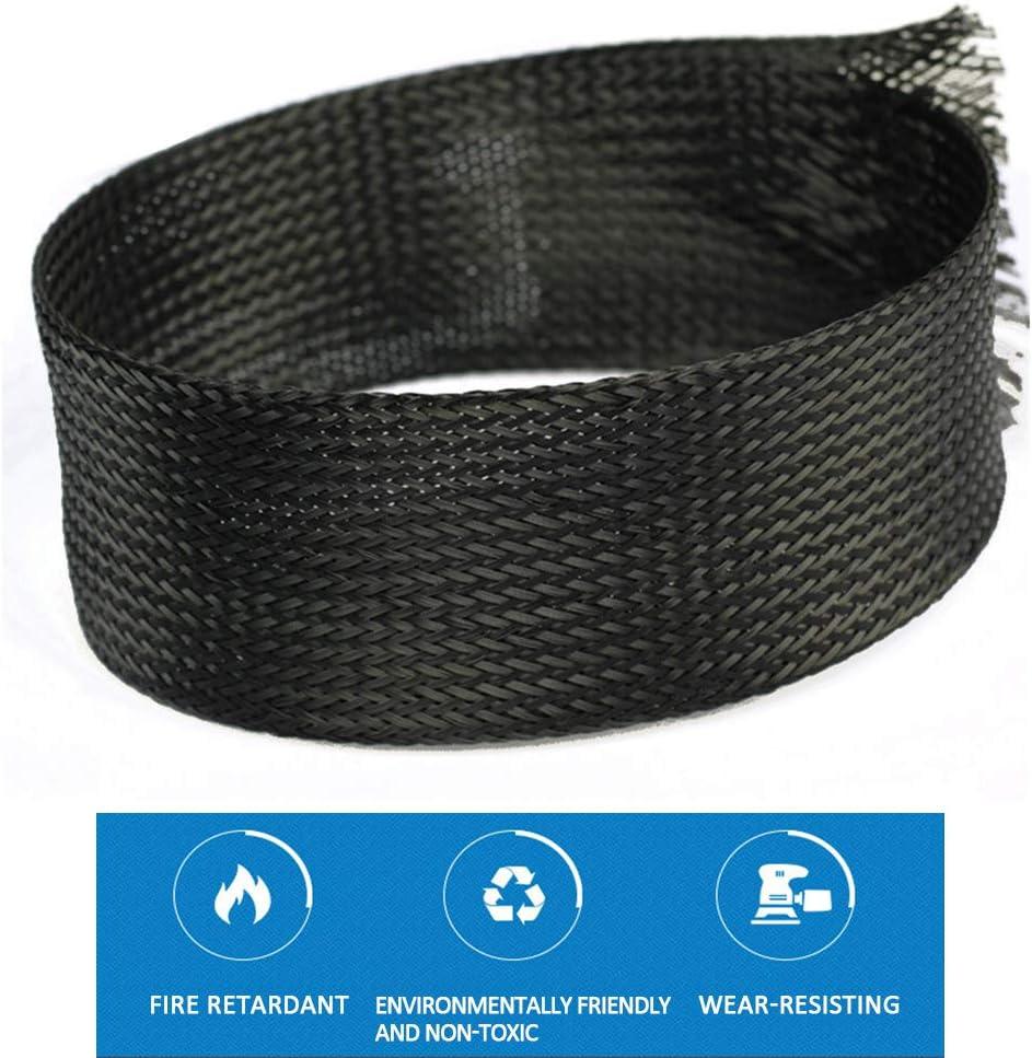 Schwarz Flexibler kabelkanal 10m Kabelschlauch mit Einstellbarem Durchmesser Cable Management 6mm SENDILI Gewebter Kabelmantel