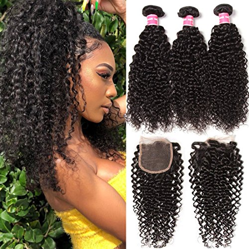 Weave Lace - Klaiyi 10A Hair Brazilian Curly Virgin Hair Weave 3-pack Bundles with 4X4 Lace Closure Human hair extensions Natural Color(12 14 16+10, Free Part Closure)