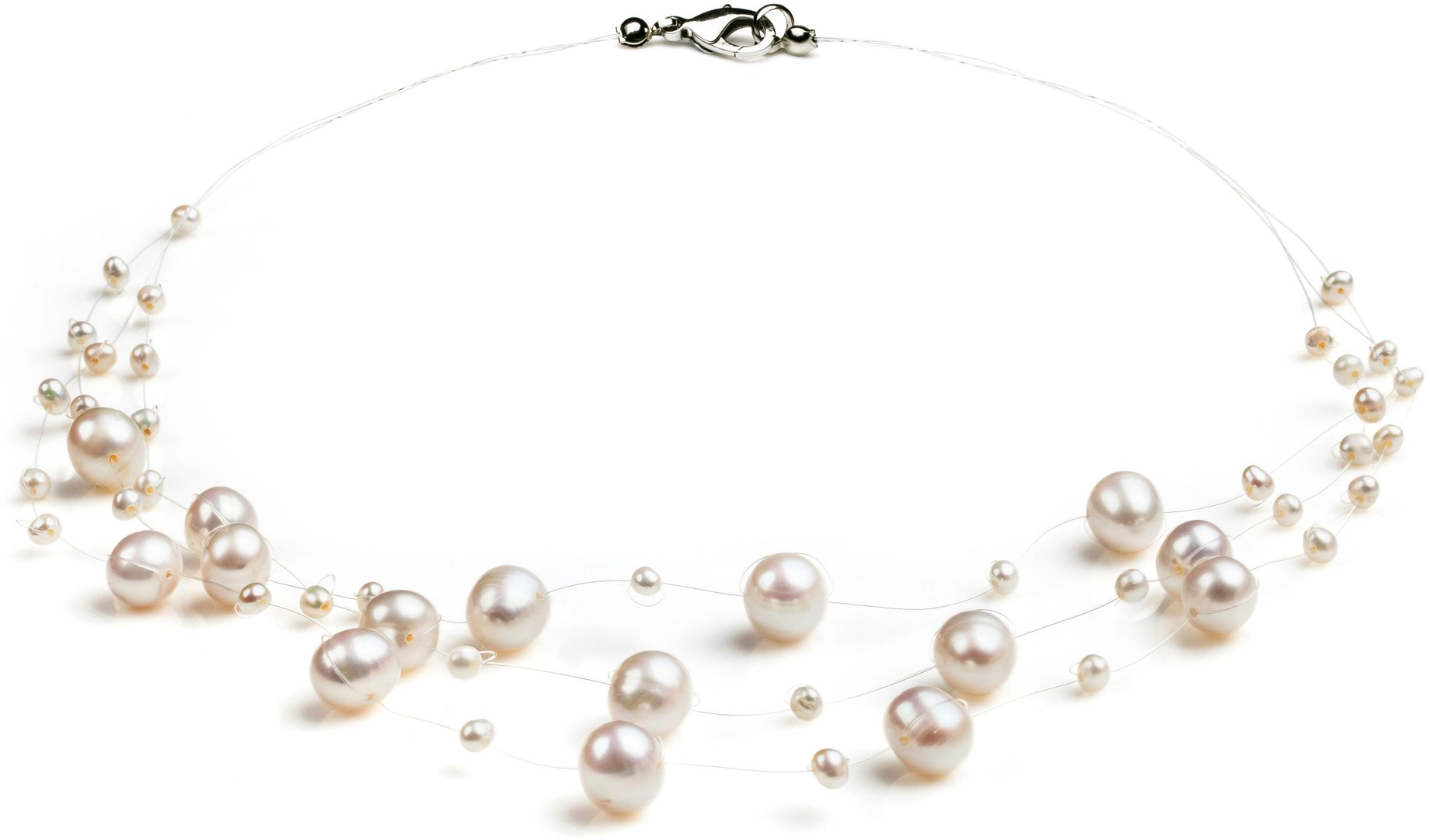 PearlsOnly Mary White 3-9mm A Quality Freshwater Cultured Pearl Necklace-18 in Princess length