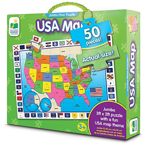 The Learning Journey: Jumbo Floor Puzzles - 	USA Map - Extra Large Puzzle Measures 3 ft by 2 ft (Puzzle Floor Giant Map)
