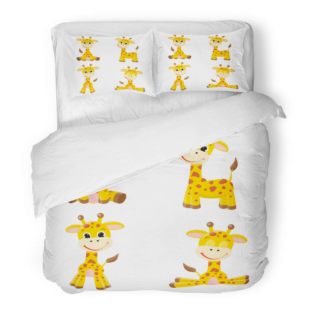 Emvency Bedding Duvet Cover Set Twin (1 Duvet Cover + 1 Pillowcase) Colorful Baby Cute Cartoon Giraffes Yellow Safari Animal Tall Adorable Africa Child Hotel Quality Wrinkle and Stain Resistant