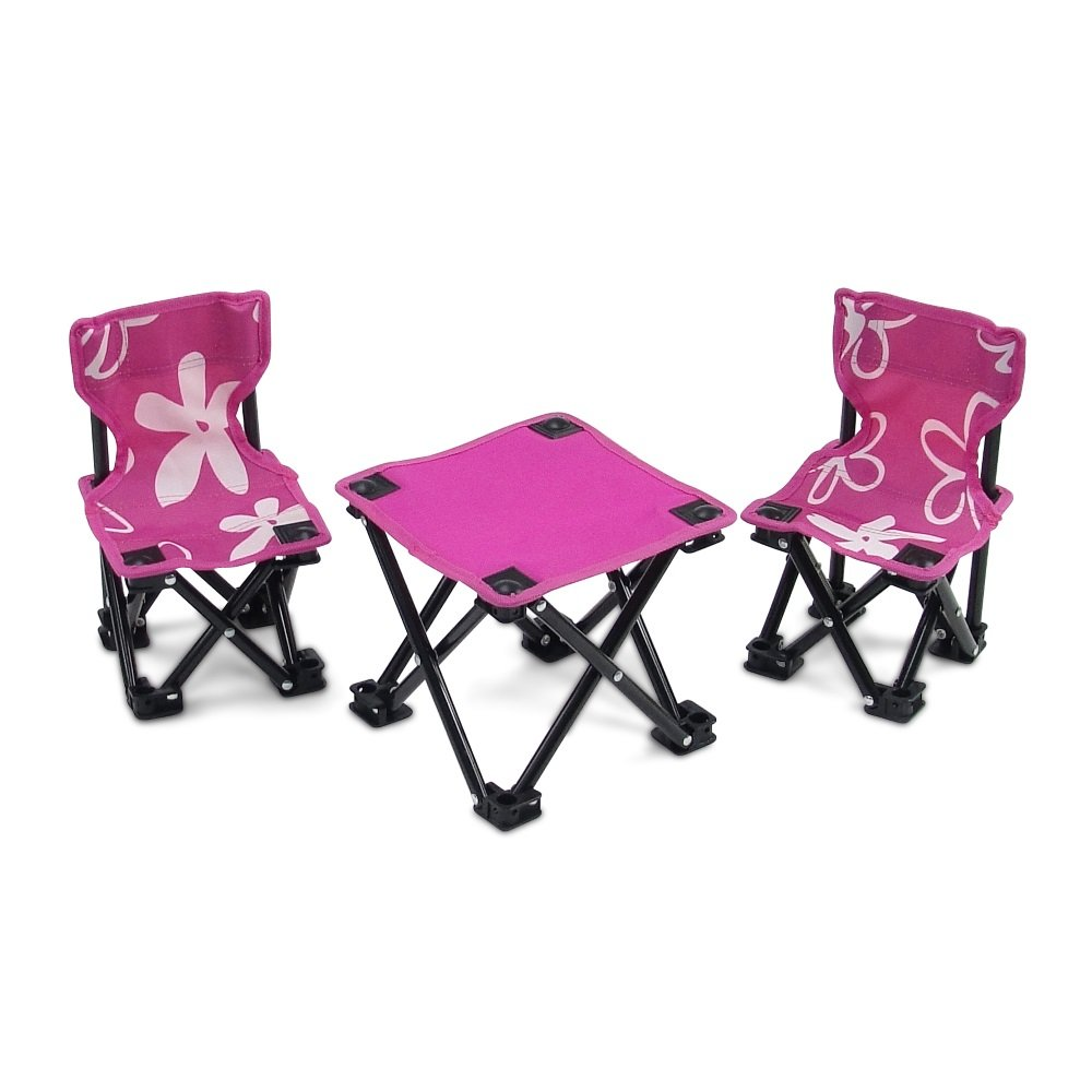 18 Inch Doll Accessories | Awesome Pink and White Flowered Armless Camping Sports Chairs and Table Set, Includes Matching Carry / Storage Case | Fits American Girl Dolls