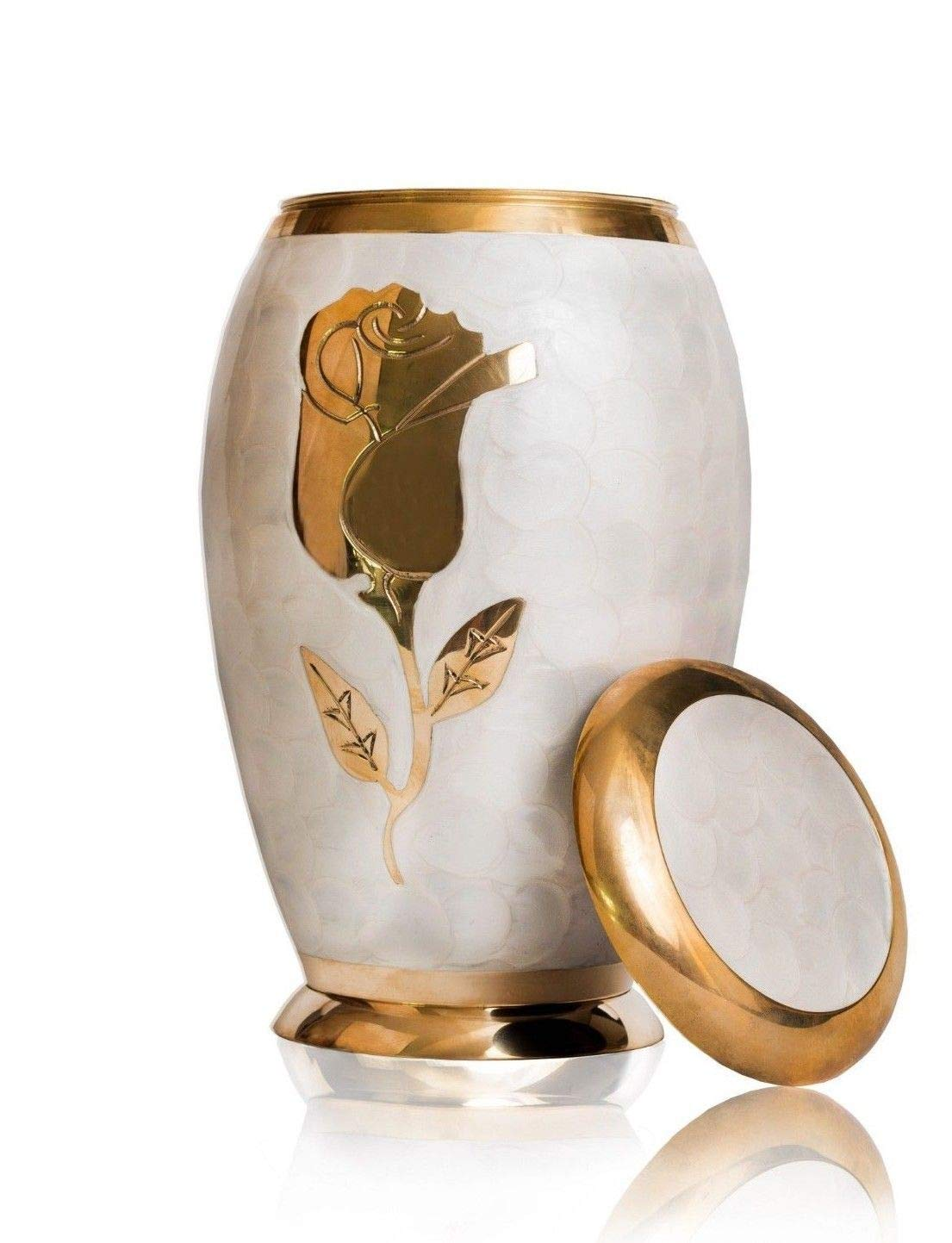 Nazareth Store Beautiful Adult Cremation Urn for Human Ashes Elegant Elite Pearl White and Gold Rose Flower,Hand Made Brass Classy Finish to Honor Your Loved One - with Velvet Box