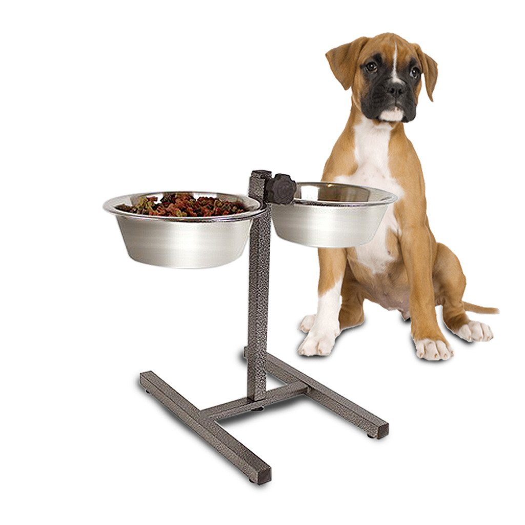 MEDIUM HEAVY DUTY ADJUSTABLE DOG RAISED DOUBLE DINER STAND FOOD WATER PET FEEDING BOWLS Guaranteed4less SC094