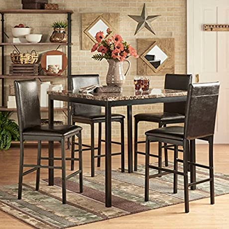 INSPIRE Q Darcy 5 Piece Faux Marble Black Metal Counter Height Dining Set