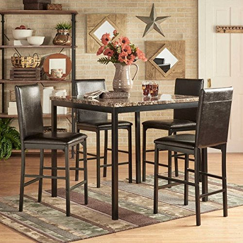INSPIRE Q Darcy 5 Piece Faux Marble/ Black Metal Counter Height Dining Set