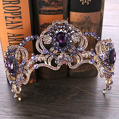 Generic Amethyst beautiful bride headdress crown tiara tiara Europe crown tiara tiara bride wedding accessories crown tiara tiara aosphere amethyst - Beautiful Crown