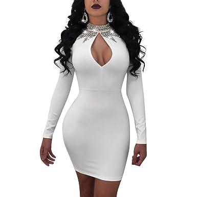 2ce8ceb71ba Jiujiuyi Womens Rhinestone Embellished Cut Out Long Sleeve Bodycon Clubwear Mini  Dress - White -  Amazon.co.uk  Clothing