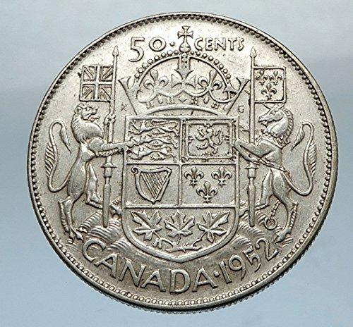 1952 CA 1952 CANADA - Large SILVER 50 Cents Coin - UK Kin coin Good