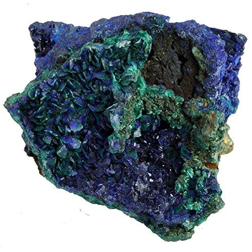 SUNYIK Natural Blue Azurite Cluster Druzy,Crystal Mineral Specimen,Figurine Sculpture Gemstone(0.4-0.5lb) (Gemstone Sculpture)