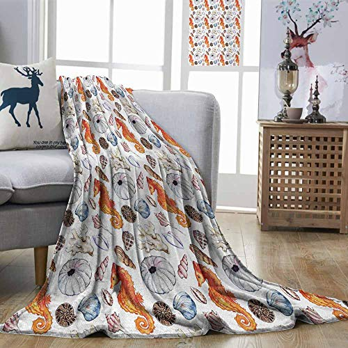 (DILITECK Animal Warm Blanket Bunch of Deep Sea Elements with Screw Shell Crabs Urchin Oyster Coral Ammonit Print Light Weight Multicolor W60 xL80)