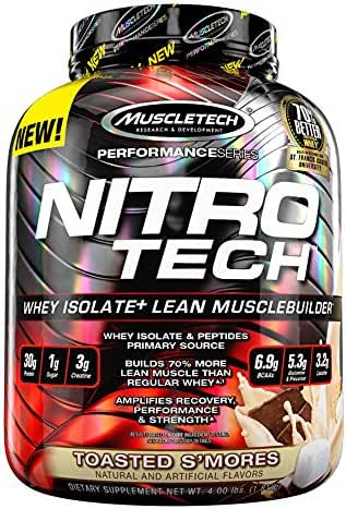 MuscleTech NitroTech Whey Protein Powder, Whey Isolate and Peptides, Toasted S'mores, 4 Pound