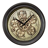 wall clock with gears - Lacrosse BBB85289 13 in. Metal Clock with Working Gears