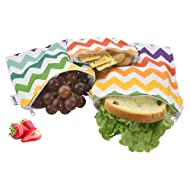 Reusable Snack Bags, Reusable Sandwich Bags-Pack of 3, FDA Passed Food Safe Fabric Snack Bags for Kids, Better Alternative to Single-Use Plastic Bags, Save Money & Protect Environment - Colorful Wave