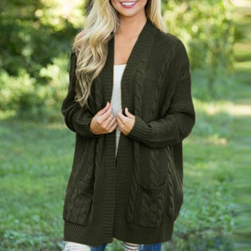 Womens Winter Open Front Solid Pocket Knit Cardigan,HOMEBABY Ladies Solid Long Sleeve Blanket Cape Boyfriend Sweater Coat Capes Jacket Knitwear Outwear Plus Size