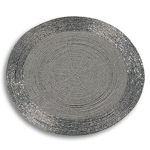 The Crosby Street Shimmer and Chic Round Silver Filigree Beaded Placemats, Set of 2, Wire, Glass, 13 ¾ Inches, By Whole House Worlds (Circular Filigree)