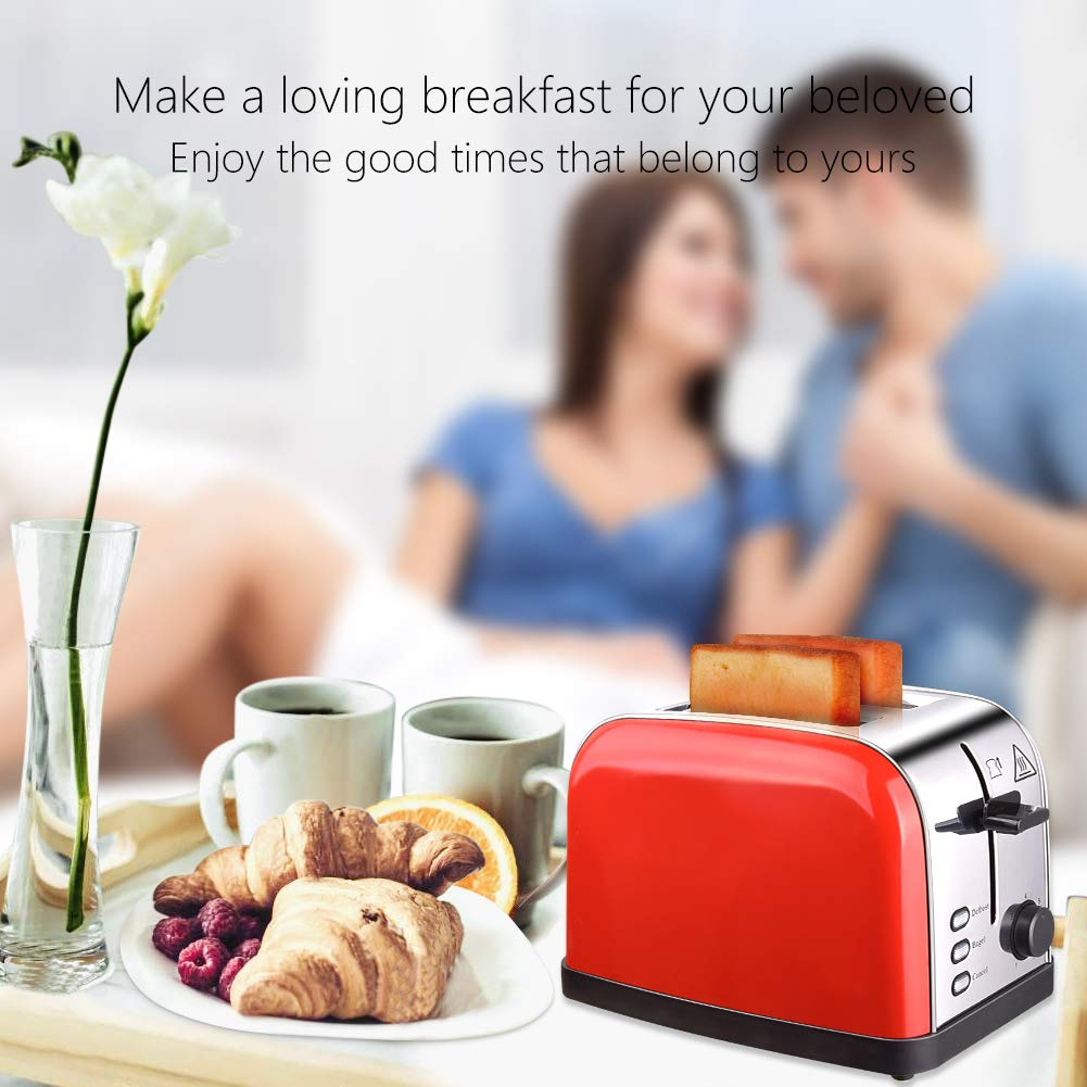 Toaster 2 Slice Toasters Best Rated Prime Extra Wide Slots Compact Stainless Steel with Defrost Reheat Cancel Button High Lift Lever Toaster's Removable Crumb Tray Quickly Toast for Bread&Bagel by Evening (Image #7)