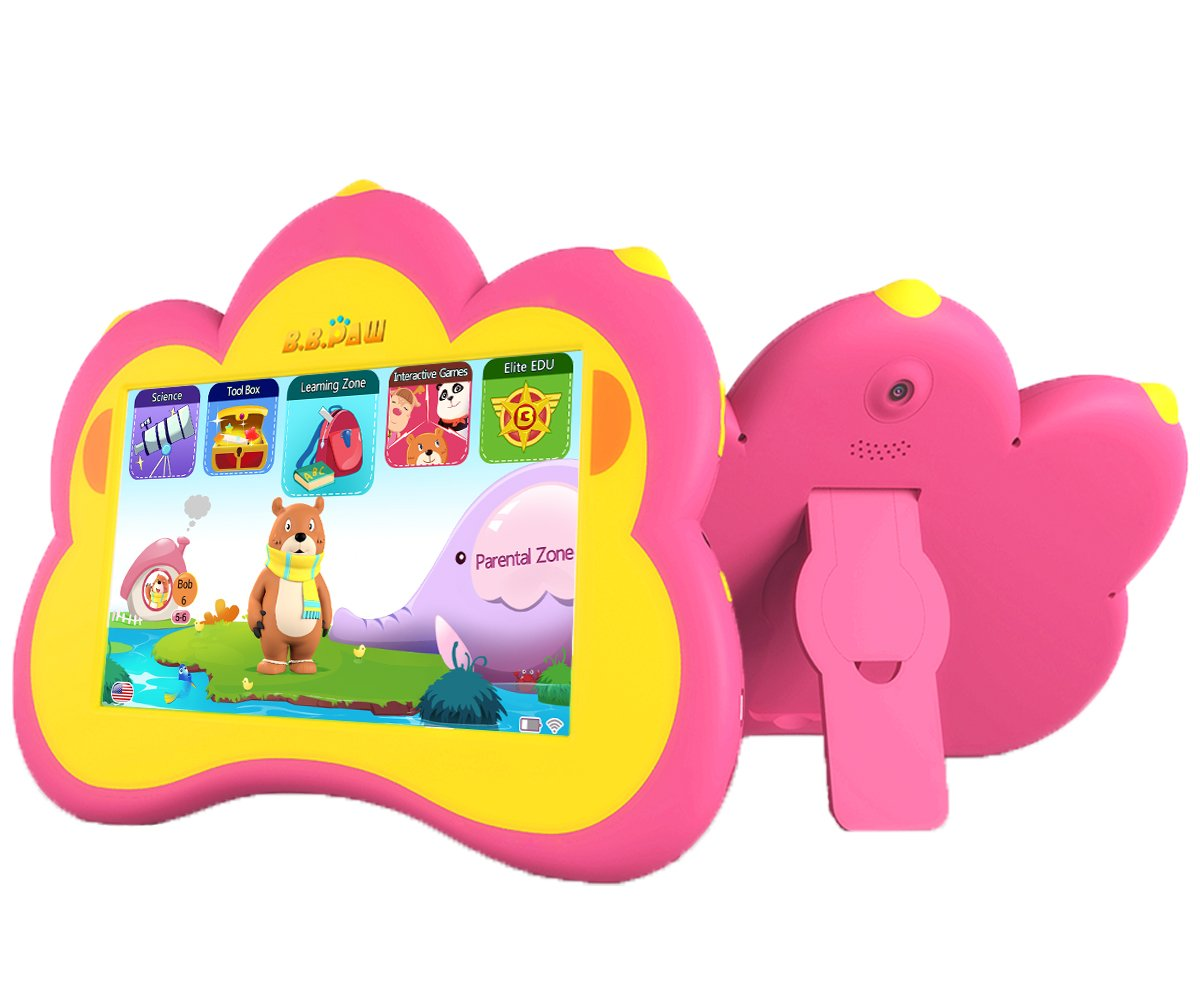 Kids Tablet, B.B.PAW 7'' Whole Brain Education Tablet para niños 2 to 6 Years Old with 90+ Preloaded Learning and Training Apps-Candy Pink