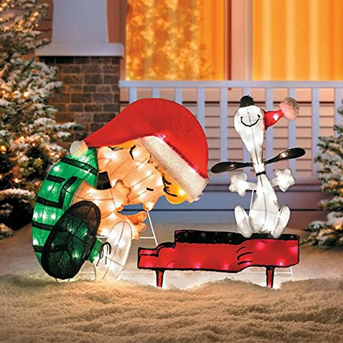 "Christmas Yard Art Decorations 32"" Lighted Schroeder and Snoopy Piano Outdoor Tinsel Display"