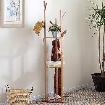 HhGold Perchero Perchero de bambú Natural Tipo de Suelo ...