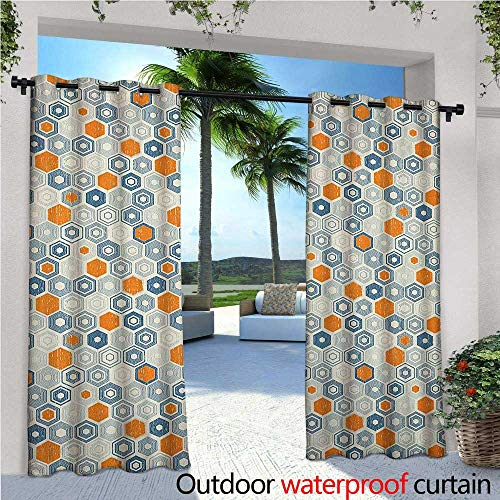 Grunge Outdoor Privacy Curtain for Pergola Bullseye Hexagon Pattern with Worn Out Backdrop Design with Pale Tones Thermal Insulated Water Repellent Drape for Balcony W120