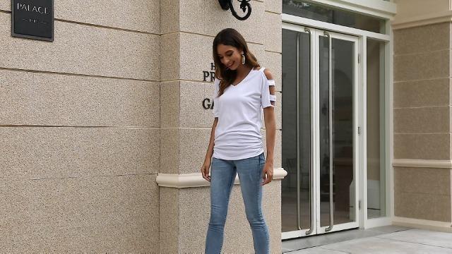 Jescakoo Women's Short Sleeve Cut Out Cold Shoulder Tops Deep V Neck T Shirts 7