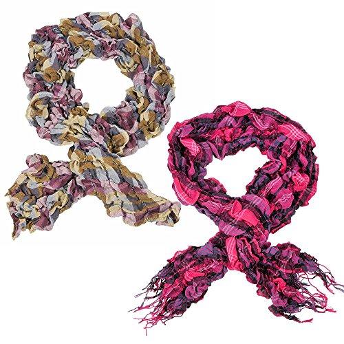 2toallas bufanda bufanda Crinkle Top con bufanda larga bufanda para mujer blusa chaqueta cuadros rayas en rosa y negro mod 1