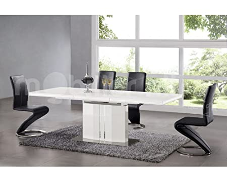 Extending Dining Table High Gloss White Women s Arielle  Amazon.co.uk   Kitchen   Home 8b46a3df2