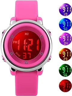 Relojes de pulsera digitales para niños niñas, 5 ATM impermeable para deportes al aire libre