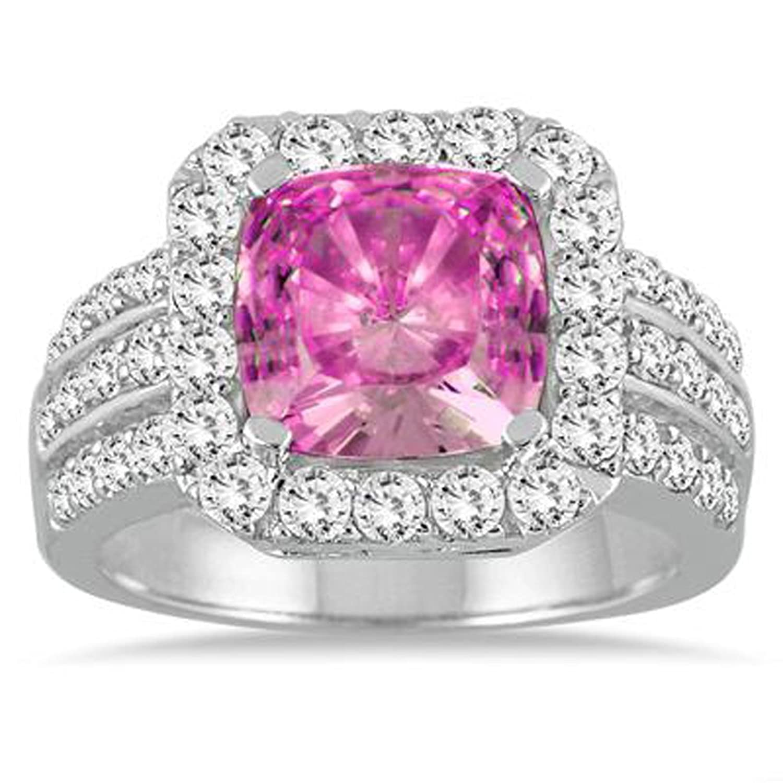 Amazon.com: 2heart 4 carate Cushion Cut Pink Sapphire & Simulated ...
