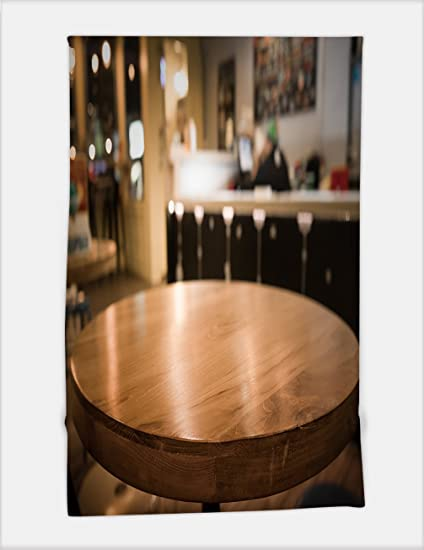 Amazon.com: Minicoso Bath Towel empty wood table top with blur of ...